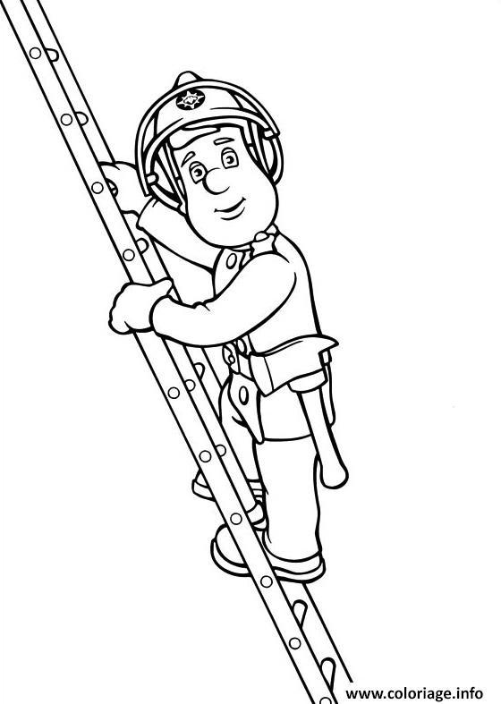 Coloriage sam le pompier une echelle dessin - Dessin pompier a imprimer ...