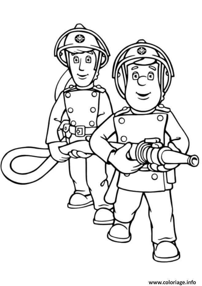 Coloriage sam le pompier avec son coequipier - Dessin pompier a imprimer ...