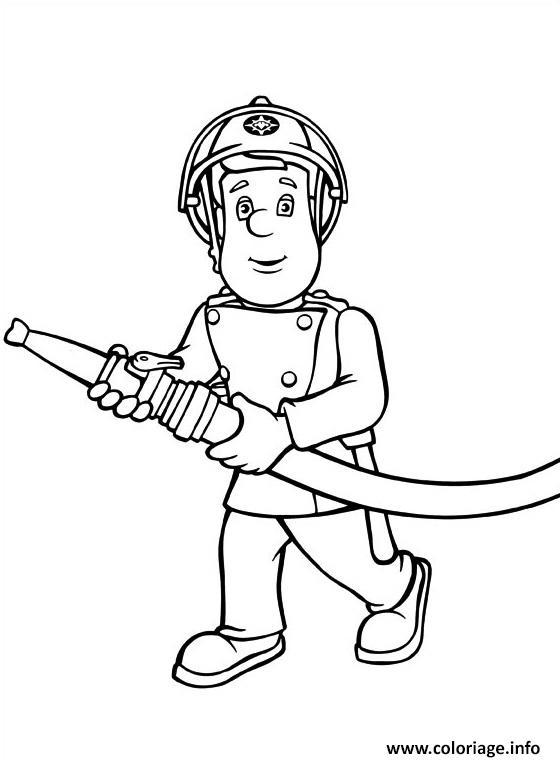 Dessin sam le pompier en action Coloriage Gratuit à Imprimer