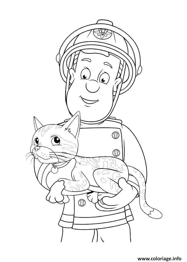 Dessin sam le pompier sauve un autre chat Coloriage Gratuit à Imprimer