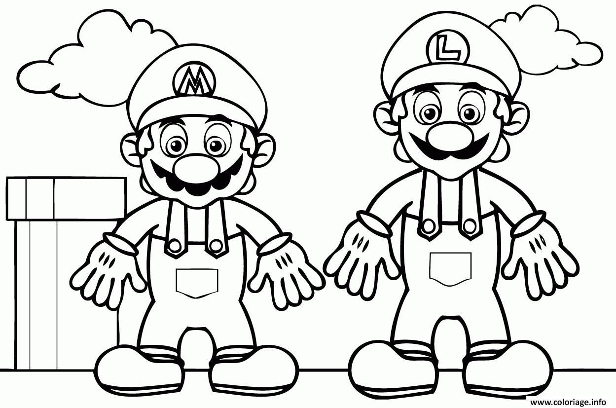 Coloriage Mario And Luigi Dessin