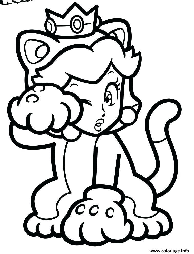 Coloriage Princesse De Mario.Coloriage Super Mario 3d World Princesse Peach Jecolorie Com