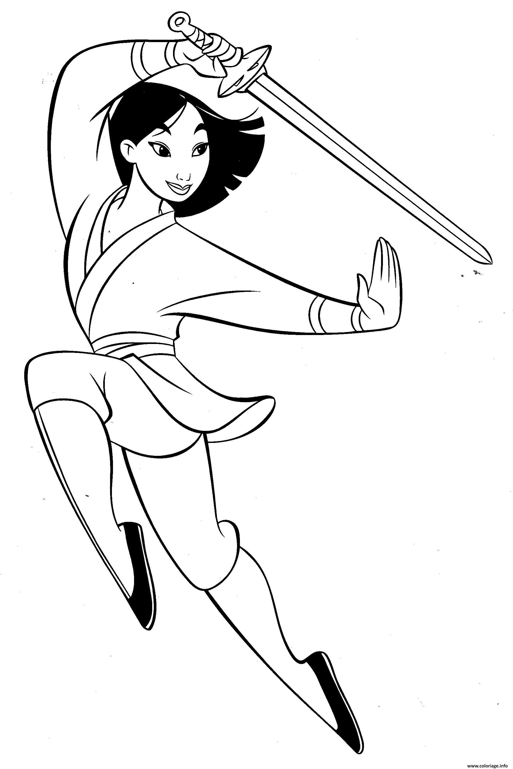 Coloriage mulan la combattante avec une epee dessin - Mulan coloriage ...