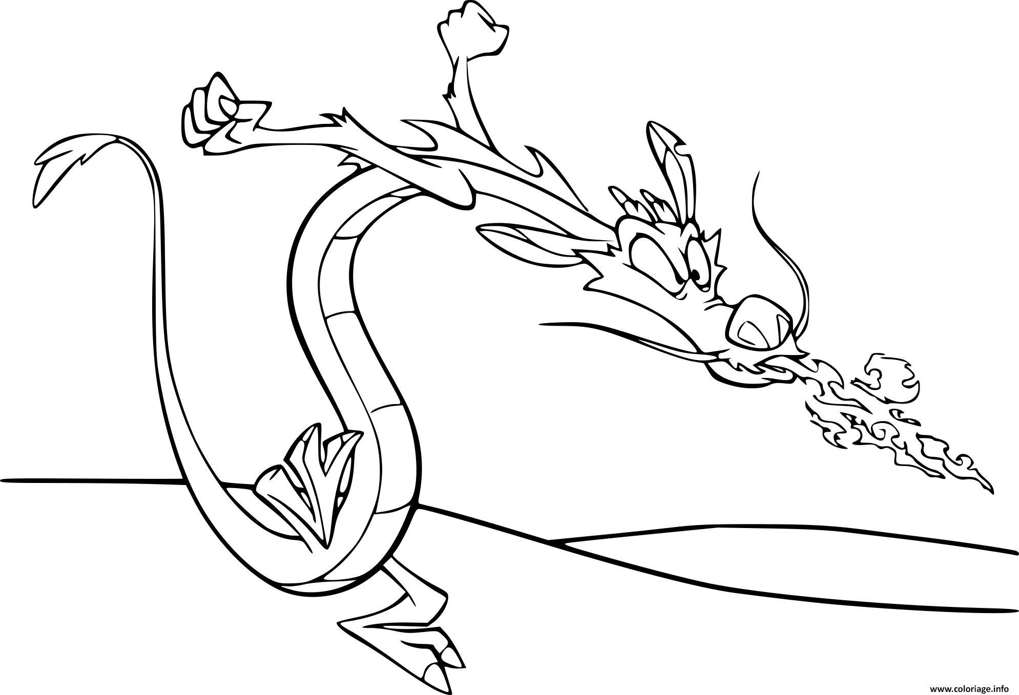 Dessin mushu le petit dragon de mulan Coloriage Gratuit à Imprimer