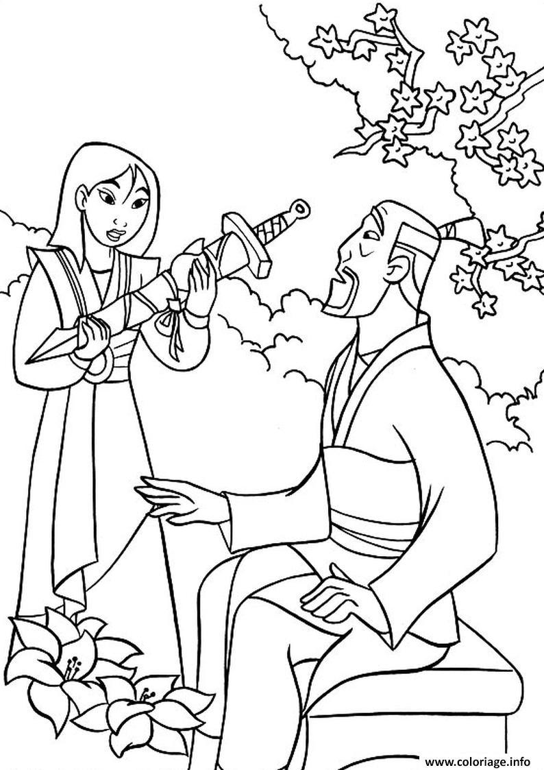 Dessin mulan et son pere fa zhou Coloriage Gratuit à Imprimer
