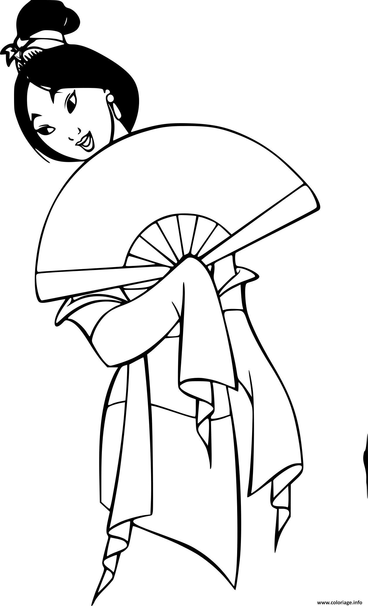 Coloriage Mulan Vetement Traditionnel Dessin Mulan A Imprimer