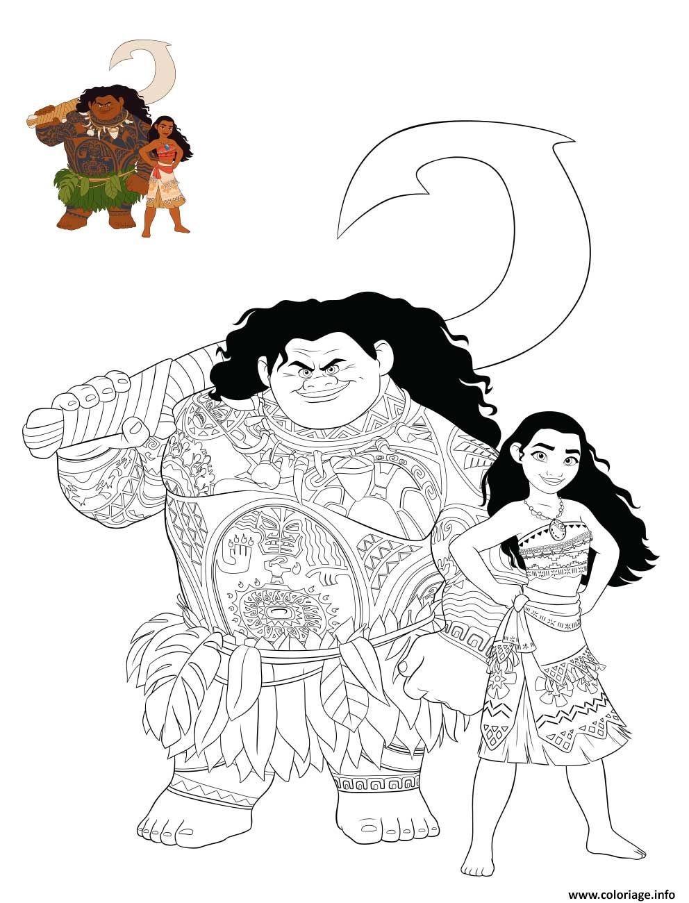 Dessin vaiana et son compagnon de voyage maui Coloriage Gratuit à Imprimer