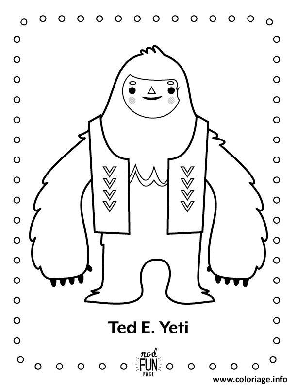 Coloriage Ted Yeti Dessin