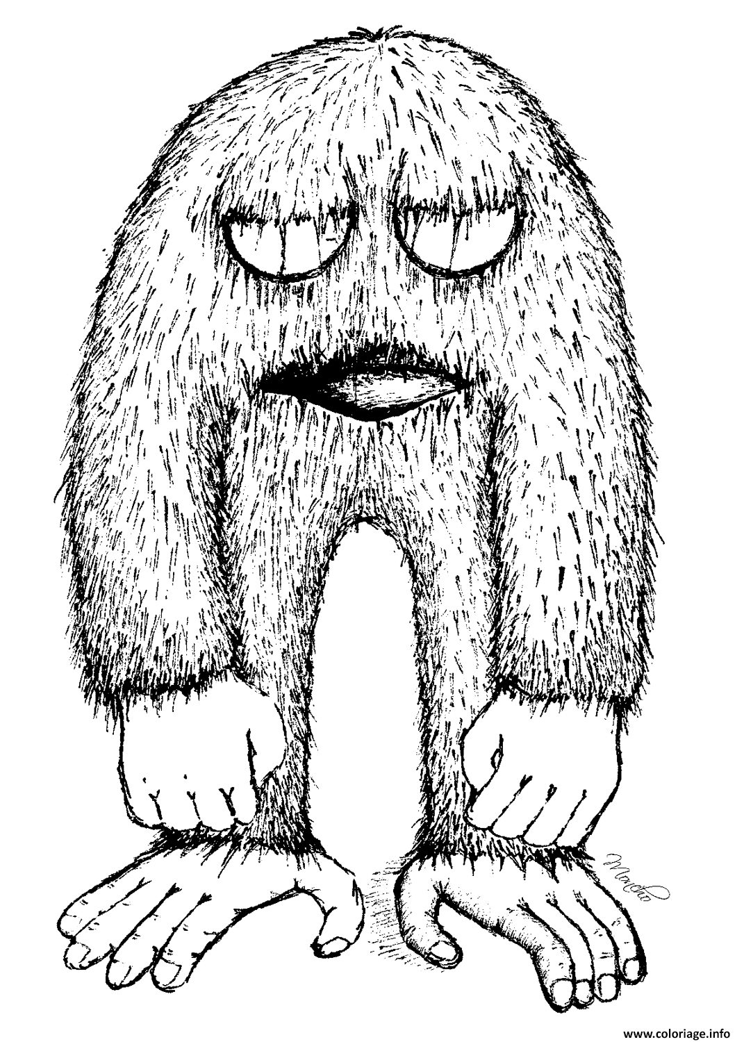 Coloriage Yeti Bigfoot Jecolorie Com