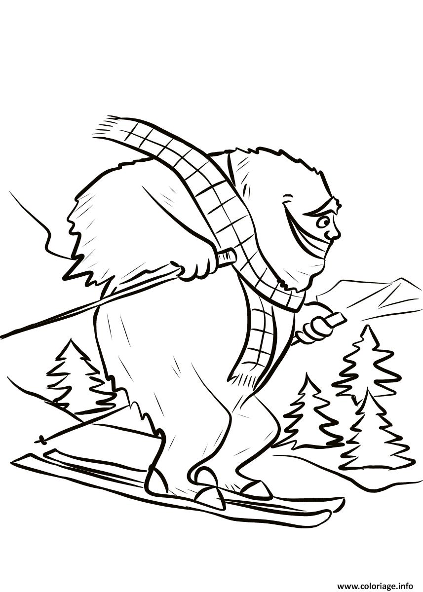 Dessin yeti fait du ski Coloriage Gratuit à Imprimer