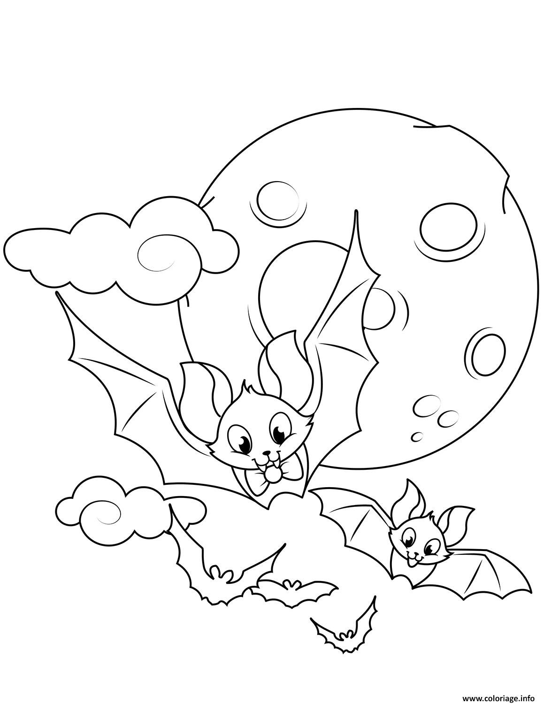 Coloriage Chauve Souris Dans Les Airs Lune Halloween