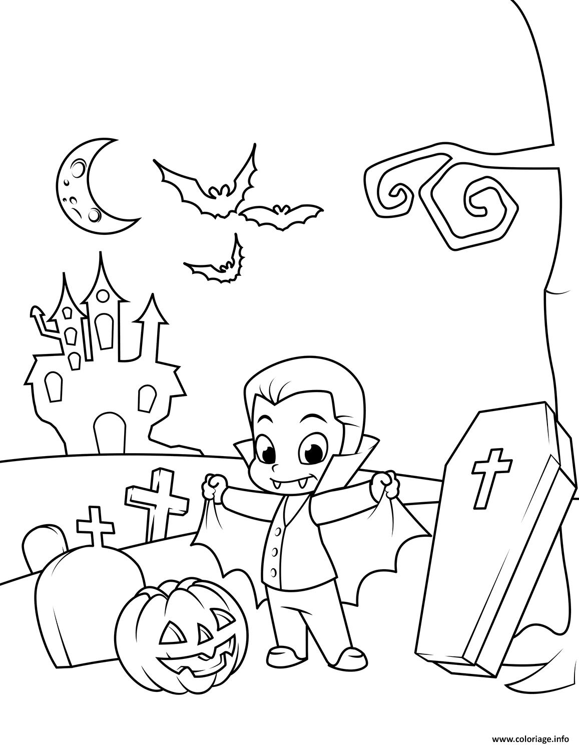 Dessin dracula halloween enfants Coloriage Gratuit à Imprimer