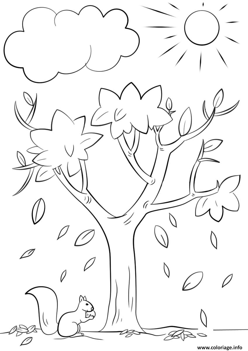 Coloriage automne tree nature - JeColorie.com