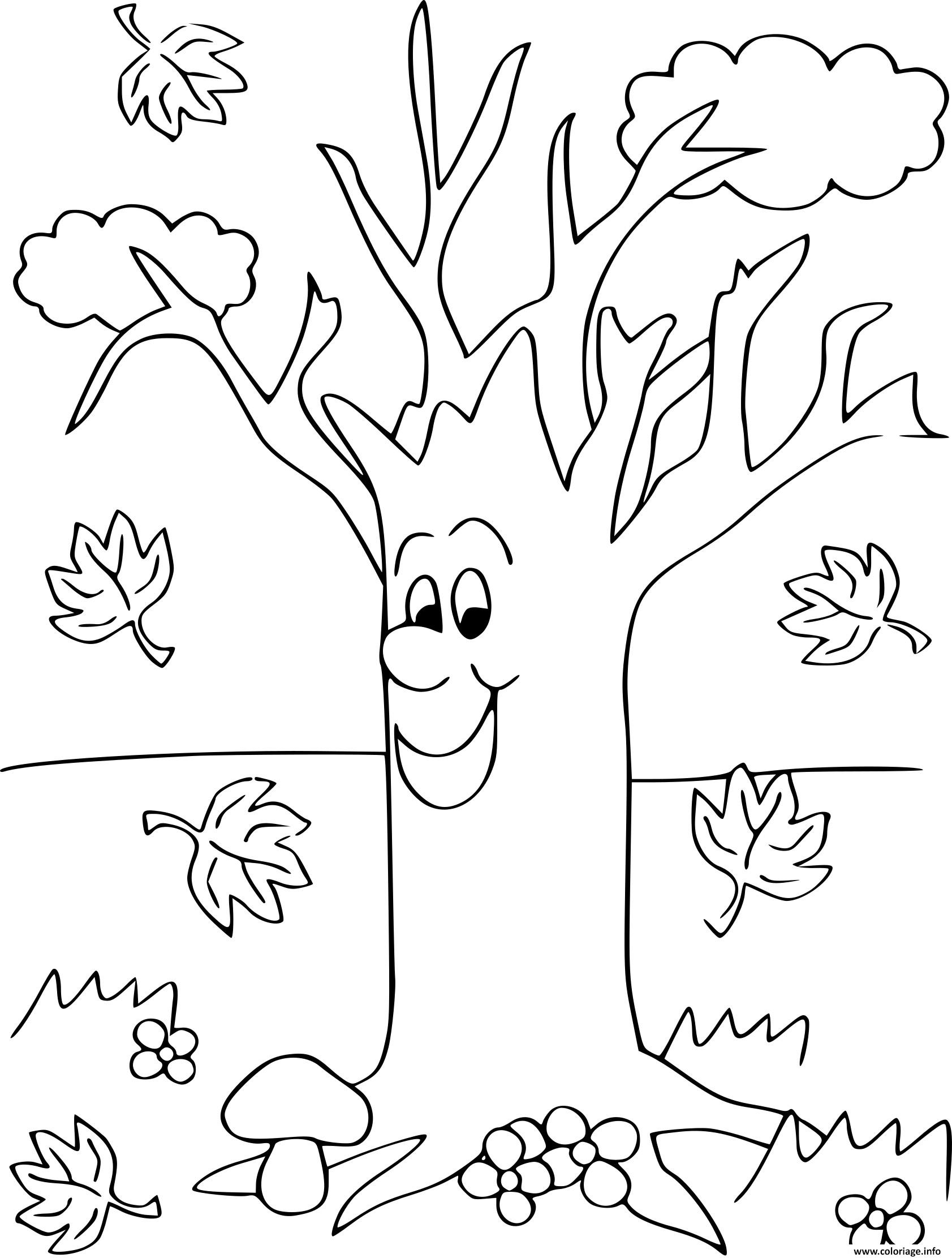 Coloriage arbre automne maternelle - JeColorie.com