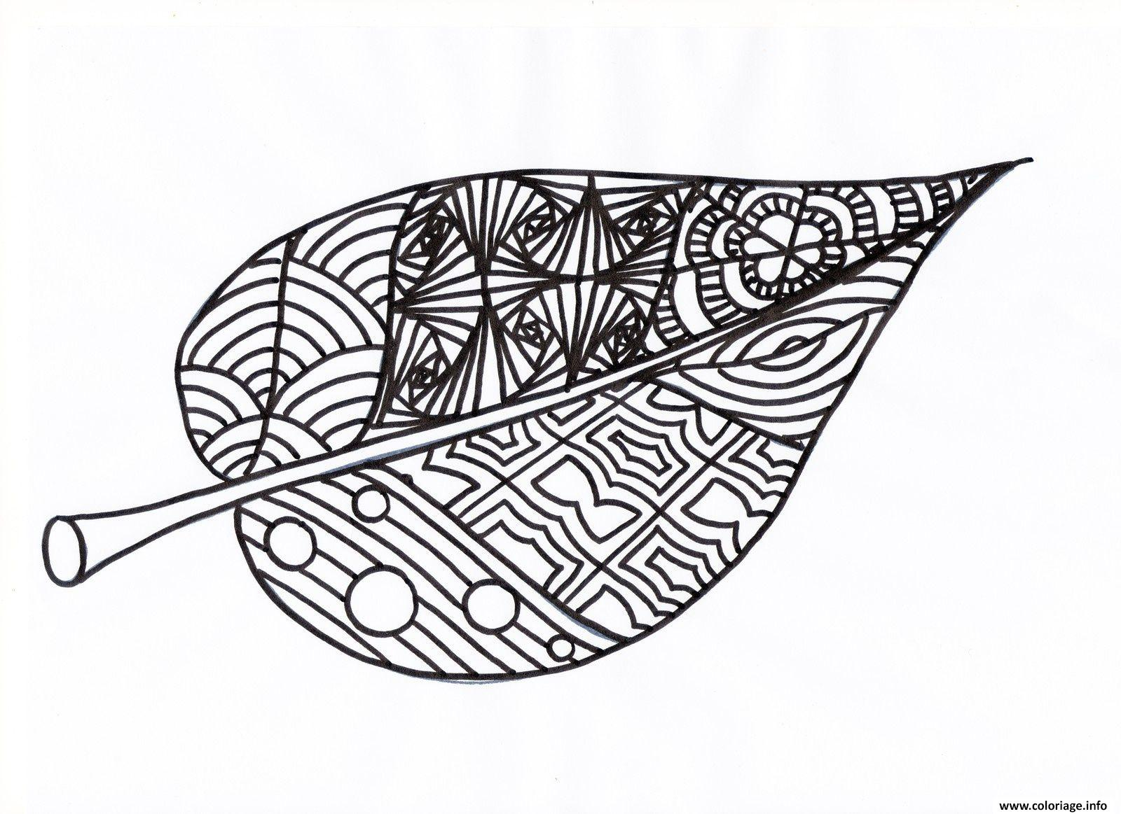 Coloriage feuille automne adulte - JeColorie.com