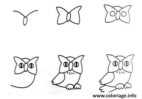 Coloriage Comment Dessiner Un Hibou Dessin Facile Jecolorie Com