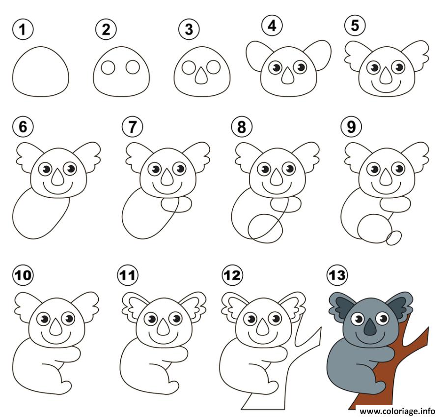 Coloriage Gratuit Koala.Coloriage Dessin Facile A Faire Koala Jecolorie Com