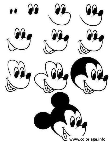 Coloriage dessin facile a faire mickey mouse disney - Dessin de disney facile ...