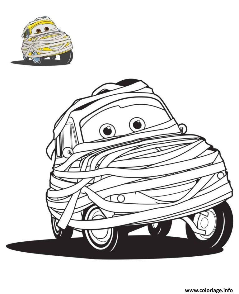 Coloriage Cars Maternelle.Coloriage Cars Halloween En Momie Jecolorie Com