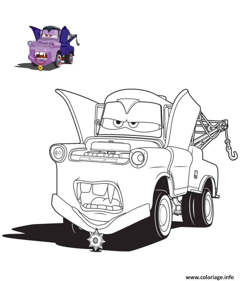 coloriage cars halloween en vampire dessin imprimer