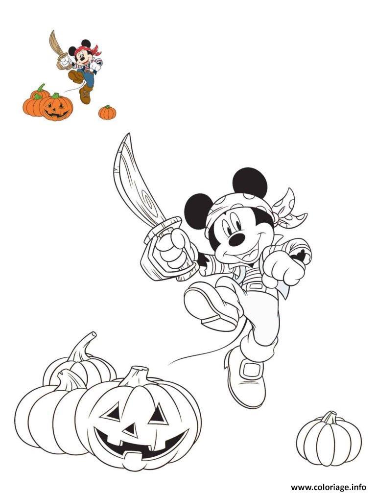Dessin halloween disney mickey le pirate Coloriage Gratuit à Imprimer
