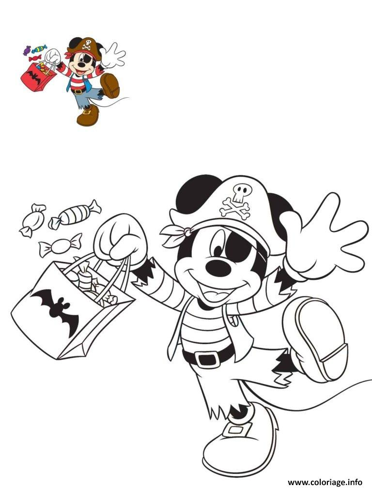 Coloriage Halloween Disney Mickey Mouse Pirate Dessin à Imprimer