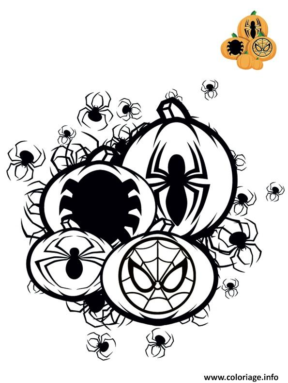 Dessin citrouille halloween spiderman Coloriage Gratuit à Imprimer
