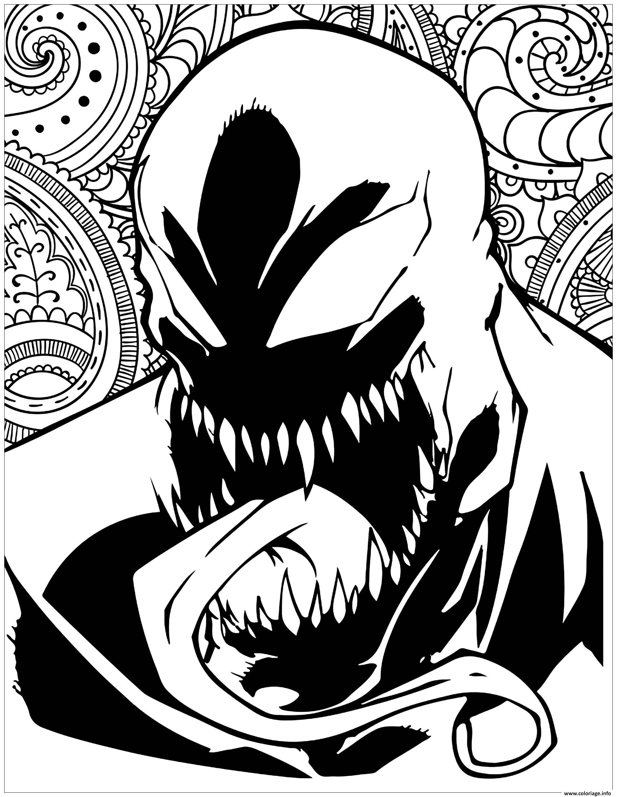 Venom Coloring Pages Lego Venom Spider Marvel Heroes: Coloriage Mechants Marvel Venom