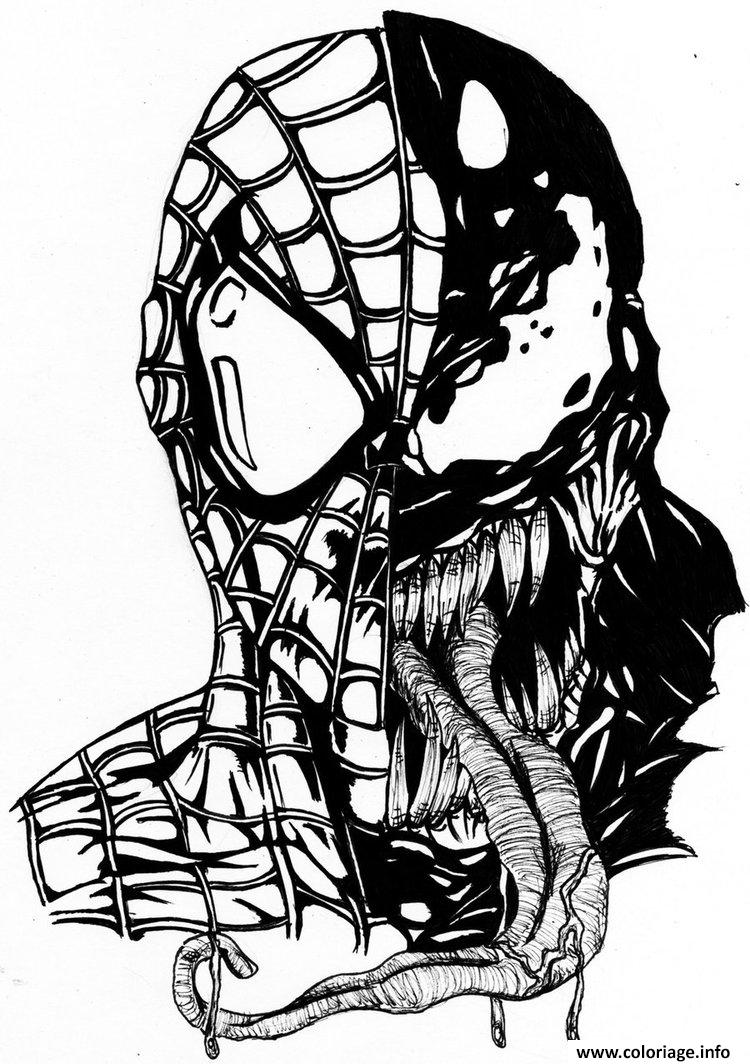 Coloriage spiderman venom mask - Dessin a imprimer de spiderman ...