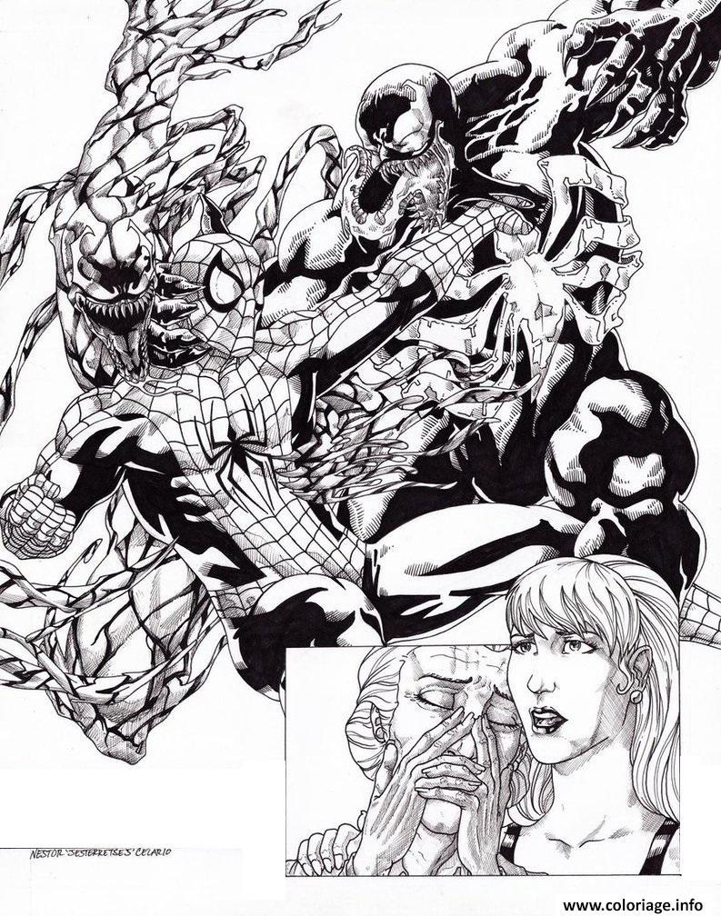 Coloriage Spiderman Vs Venom Carnage By Jesterretsej Jecolorie Com