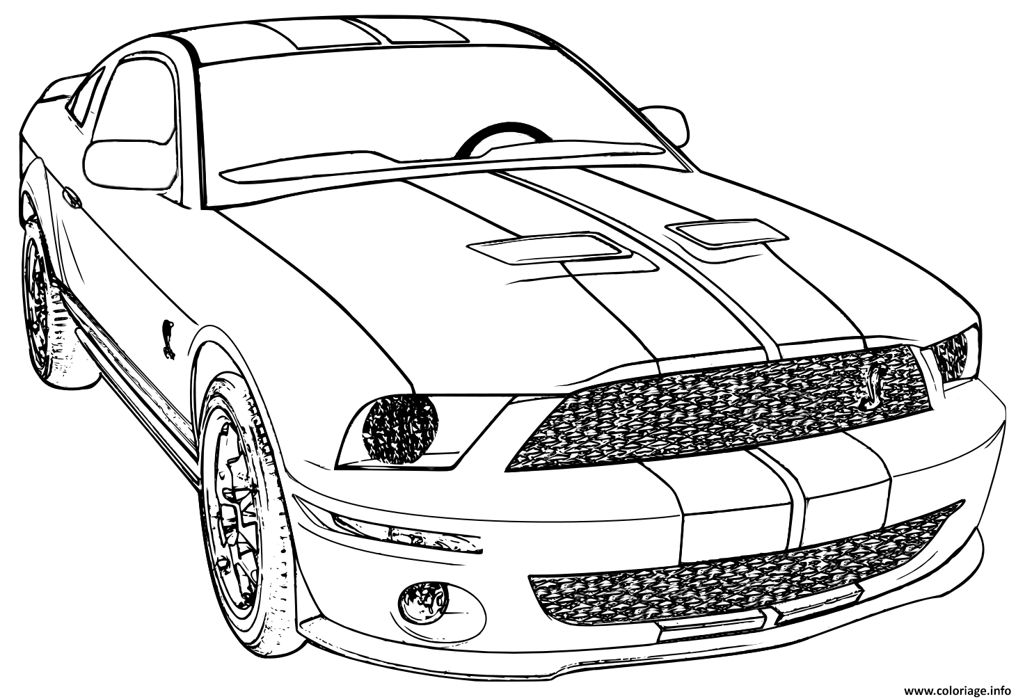 coloriage ford mustang voiture de course dessin