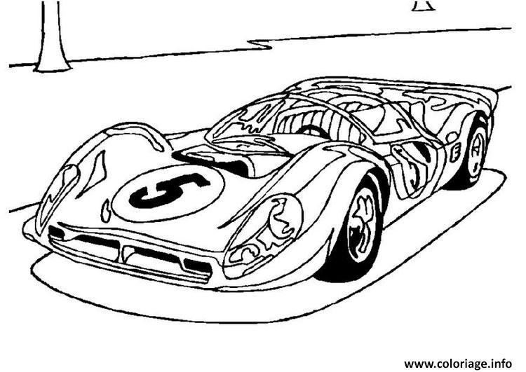 Dessin ancienne voiture de course ferrari Coloriage Gratuit à Imprimer