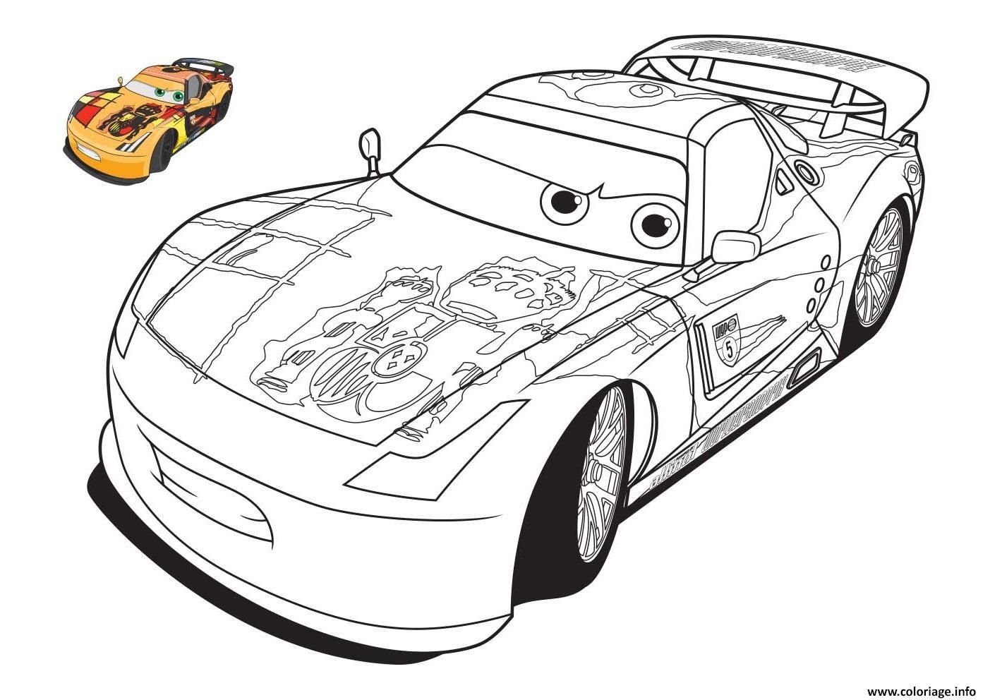 Coloriage cars 2 miguel camilo voiture course - Dessiner voiture de course ...
