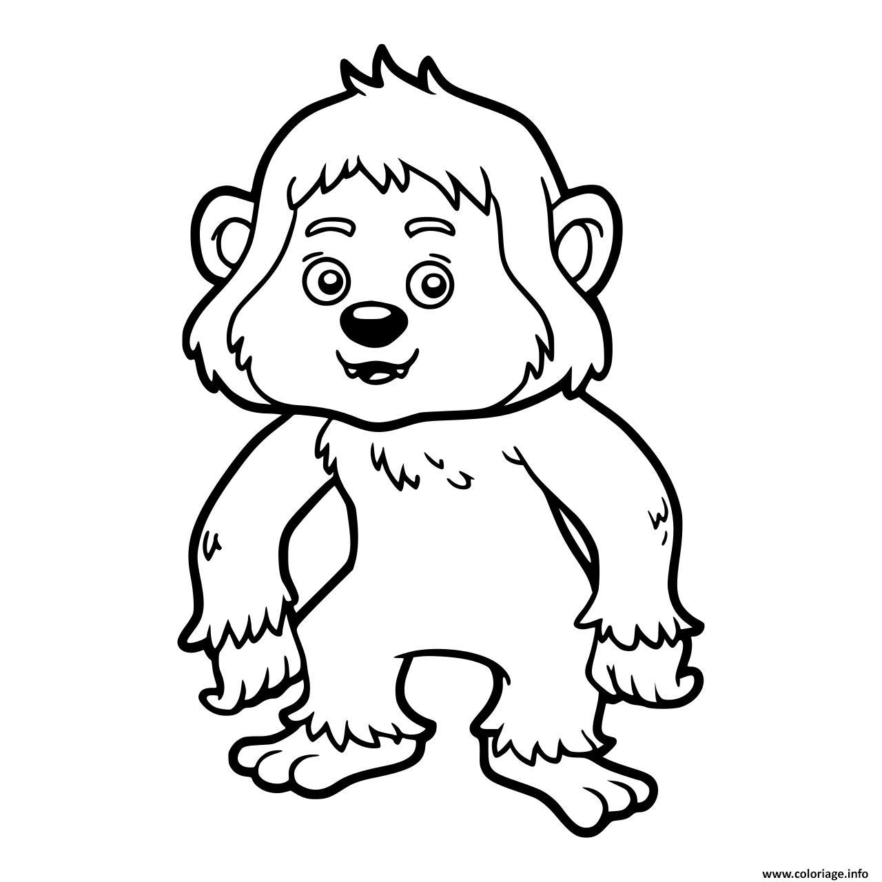 Dessin bebe yeti pour enfants Coloriage Gratuit à Imprimer