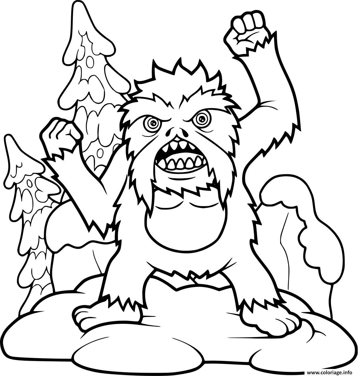 Dessin yeti bigfoot fait peur aux touristes Coloriage Gratuit à Imprimer