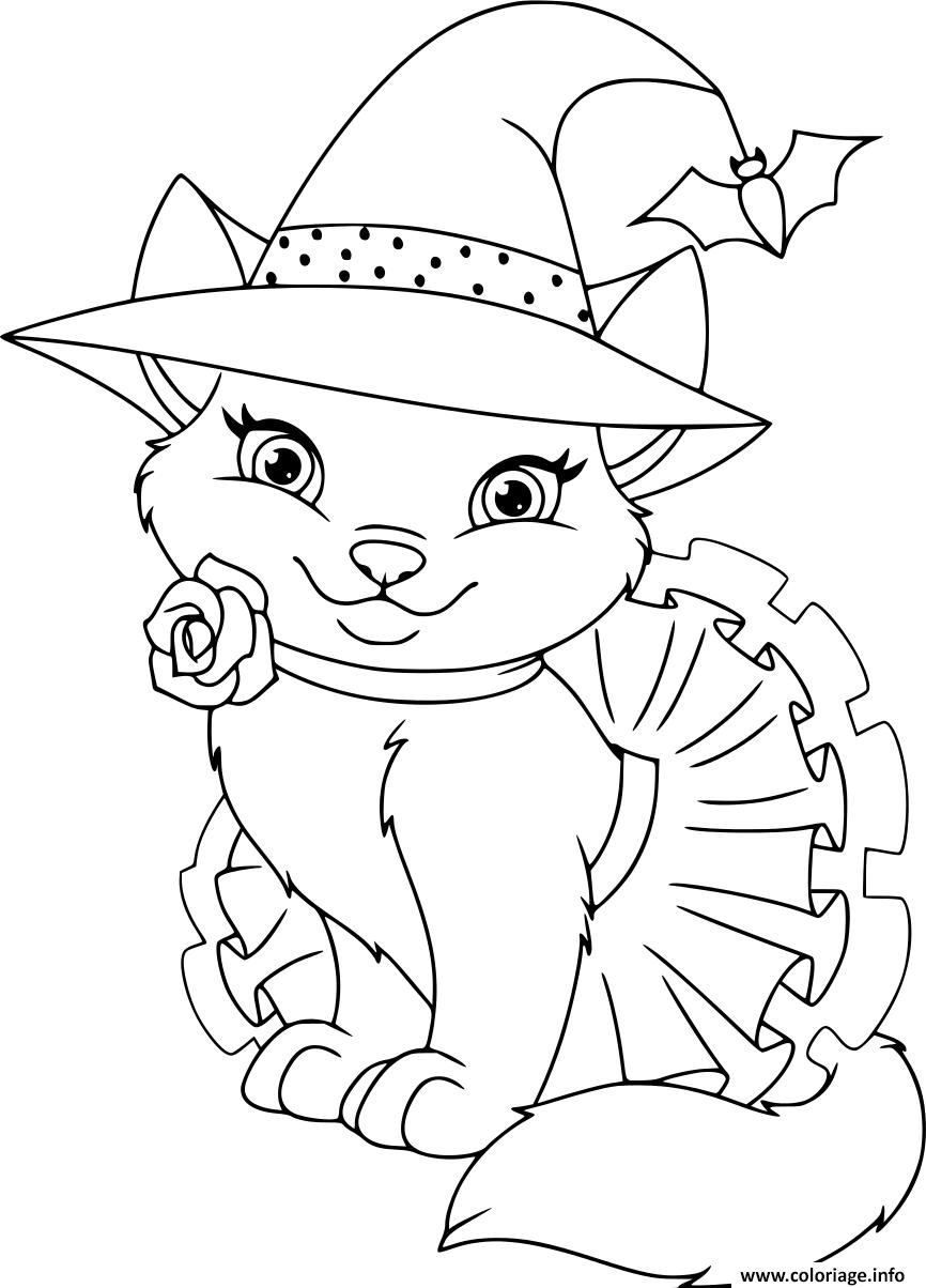 Coloriage Chat Sorciere Dessin Halloween à imprimer