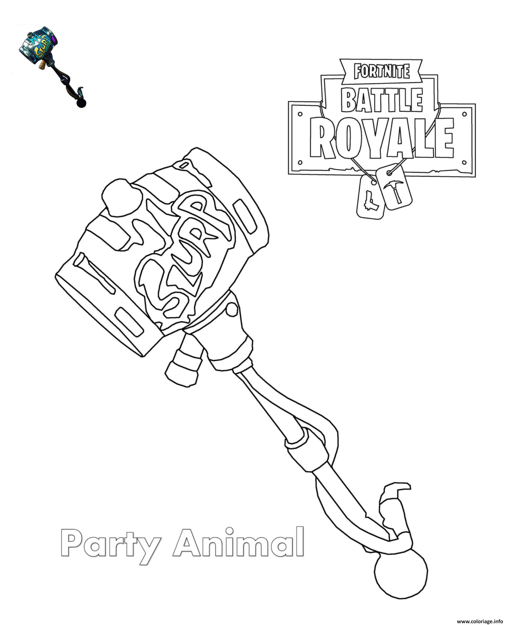 Coloriage Party Animal Fortnite Dessin