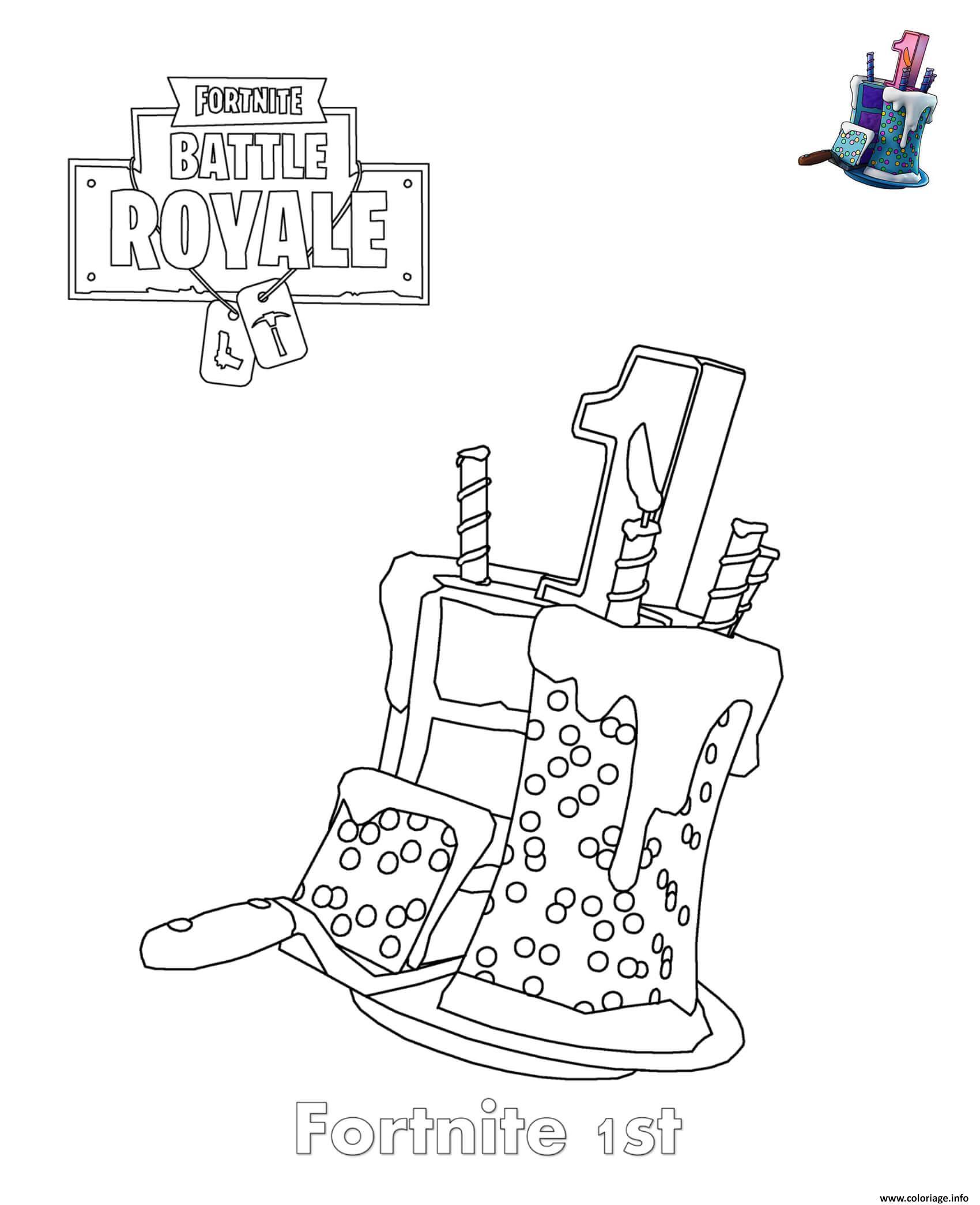 Coloriage 1st birthday cake fortnite dessin - Image imprimer gratuit ...