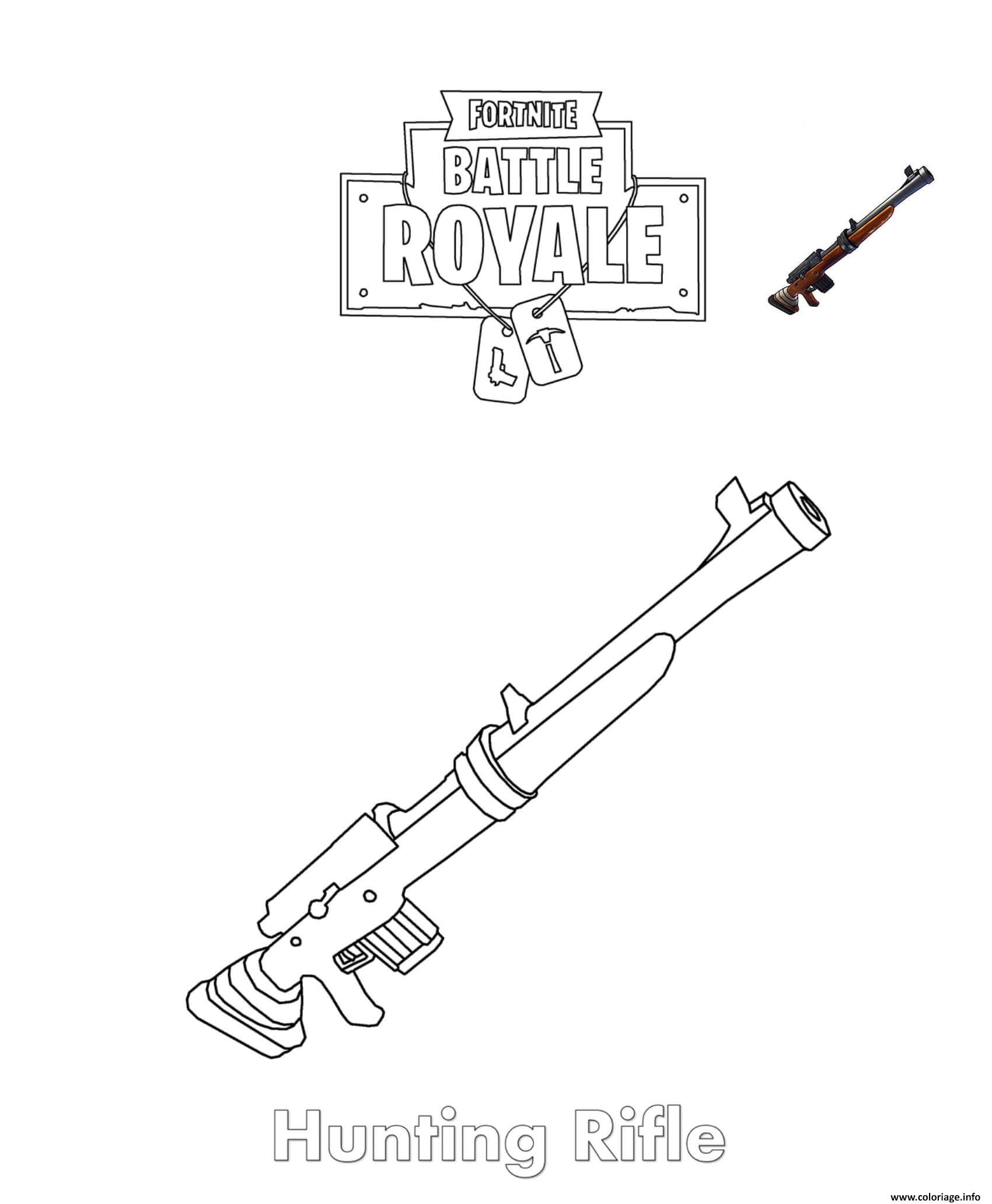 Coloriage Hunting Rifle Fortnite Dessin à Imprimer