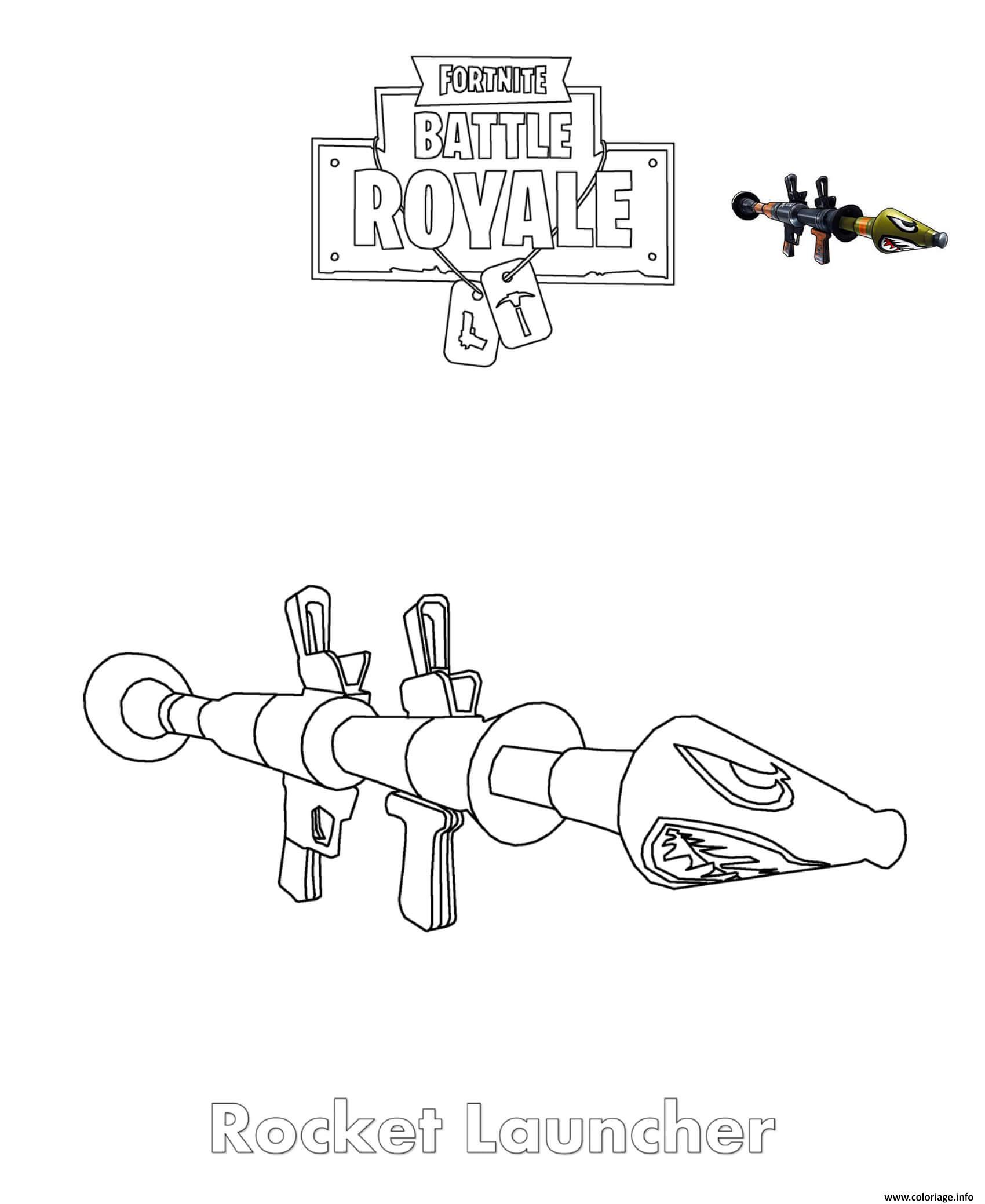 Coloriage Fortnite Graffeuse.Coloriage Rocket Launcher Fortnite Jecolorie Com