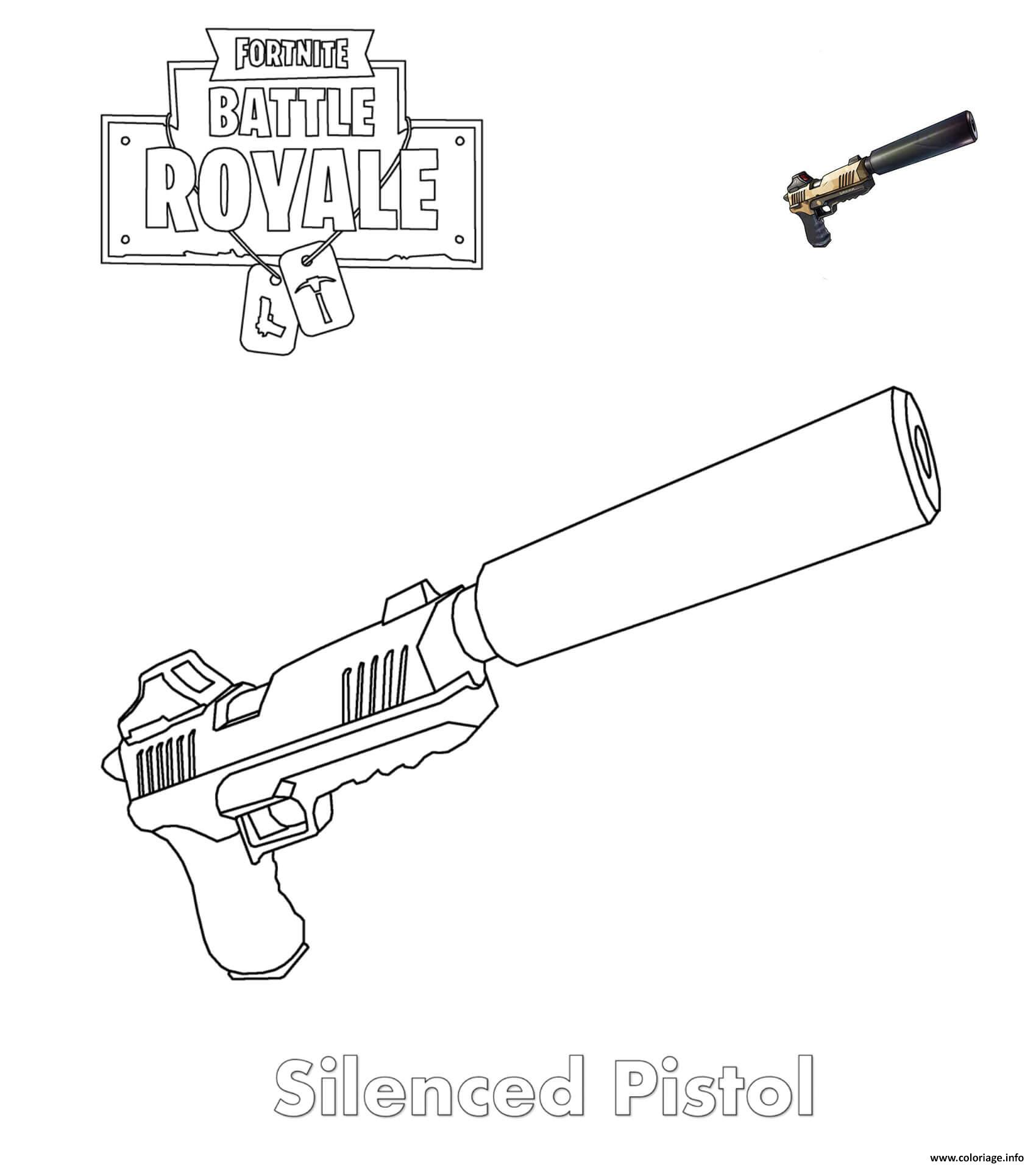 Coloriage Silenced Pistol Fortnite Jecolorie Com