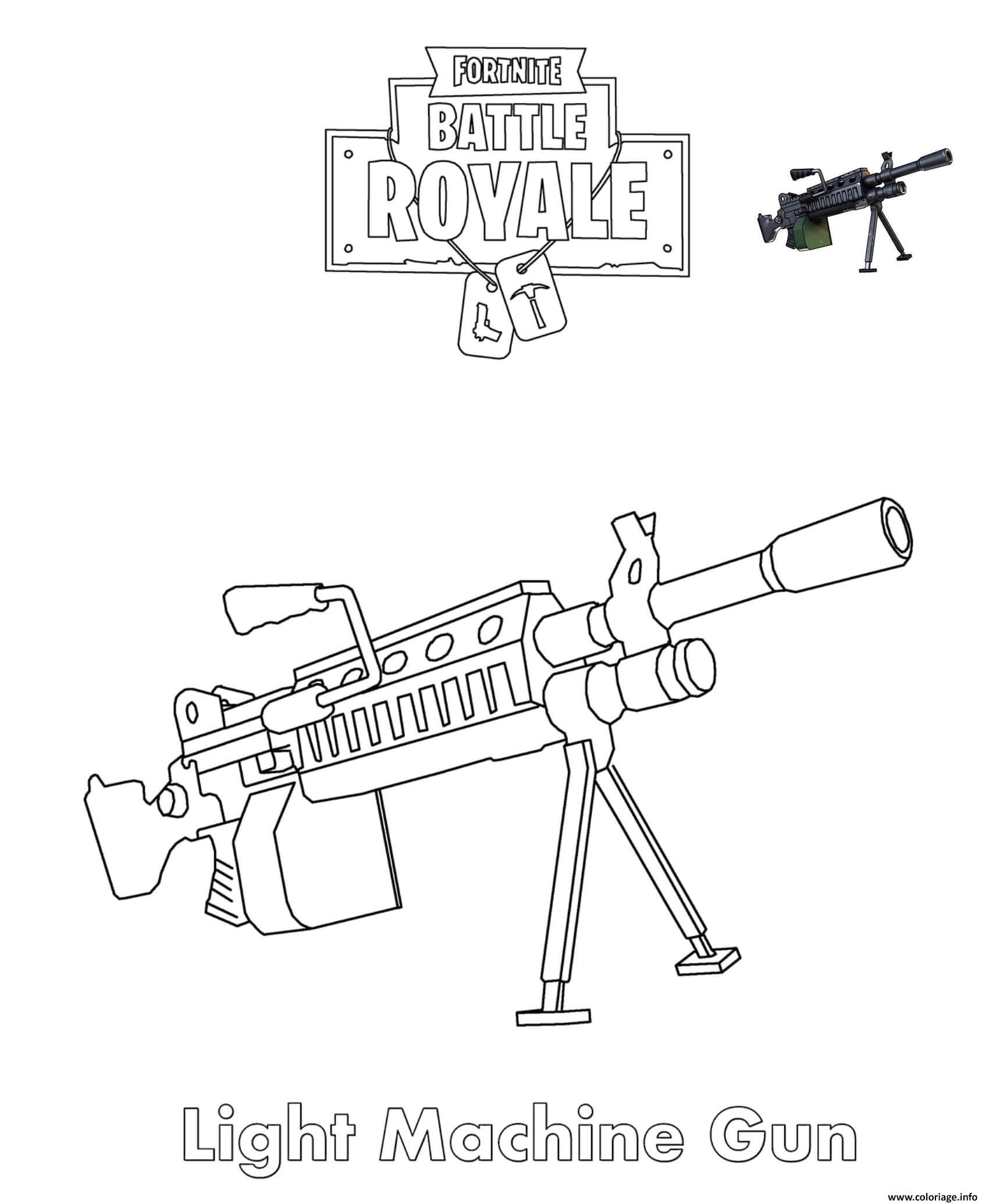 Coloriage Light Machine Gun Fortnite Battle Royale Dessin