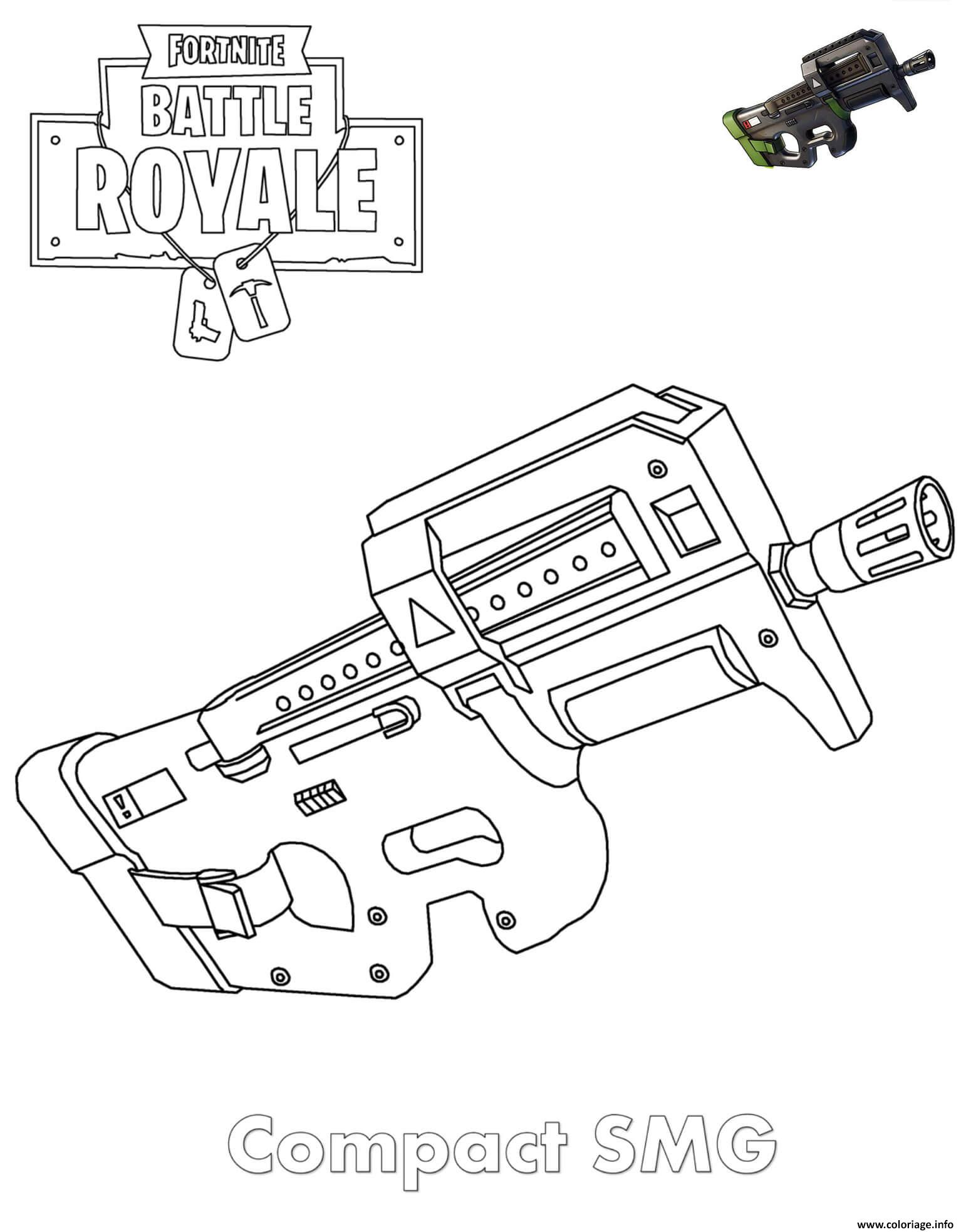 Coloriage smg fortnite - Coloriage arme ...