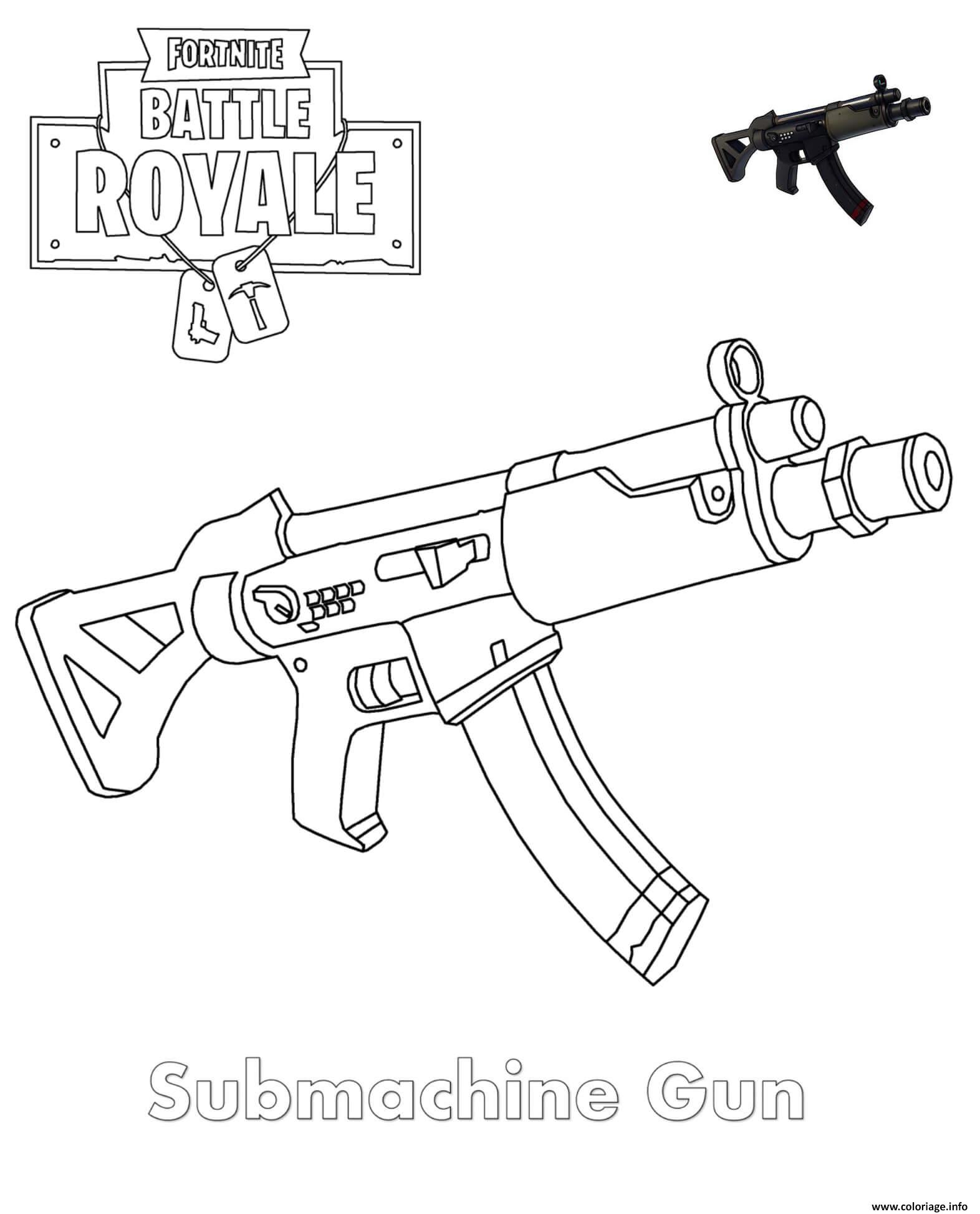 Coloriage Submachine Gun Fortnite Dessin