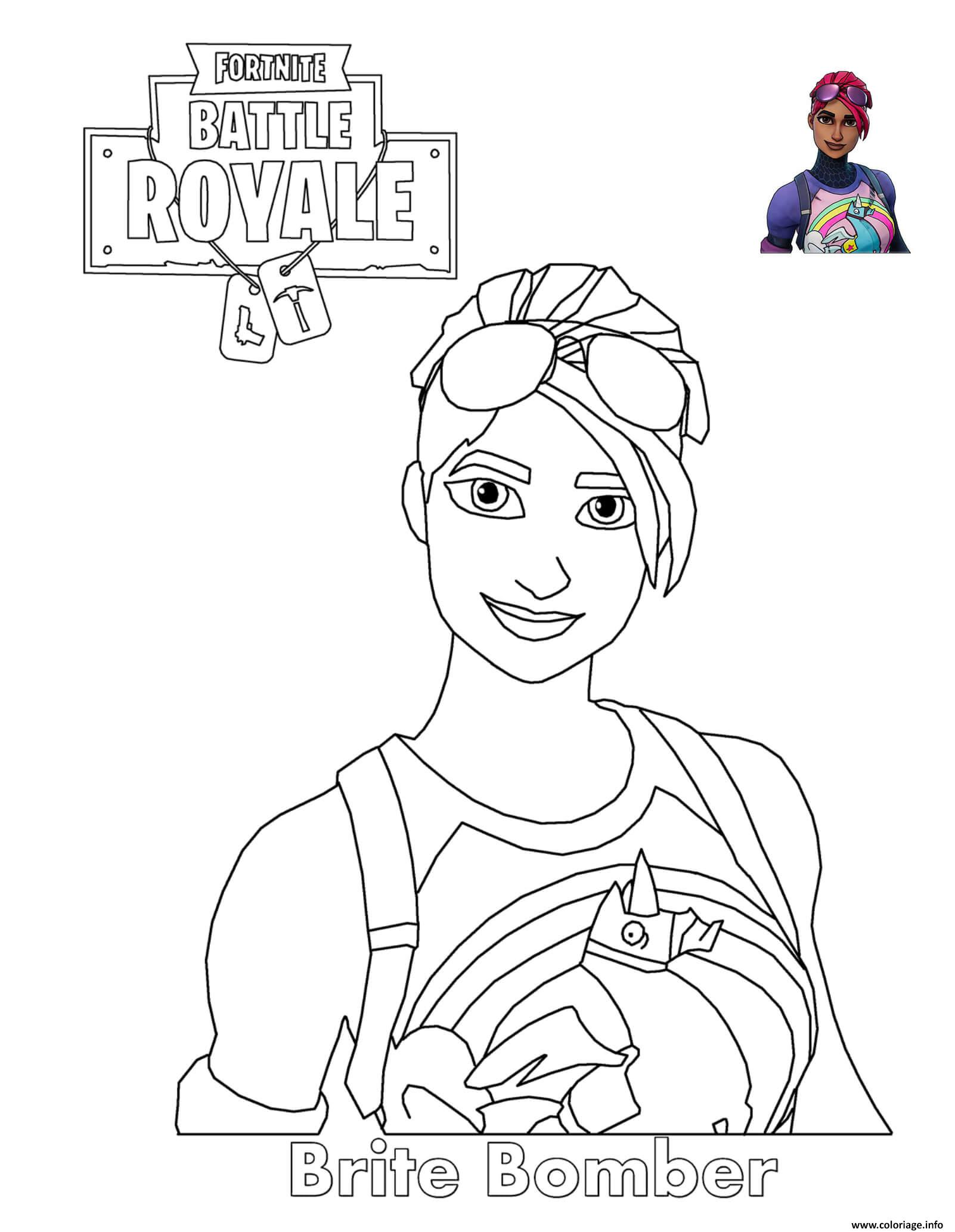 Coloriage Brite Bomber Fortnite Battle Royale Dessin à Imprimer
