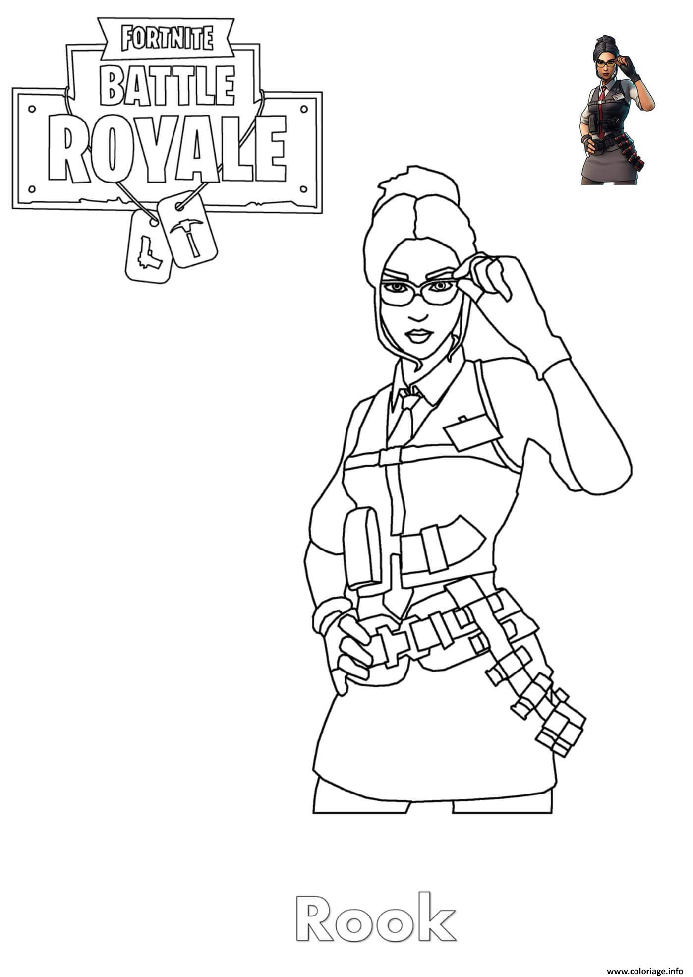 Coloriage Rook Fortnite Girl dessin