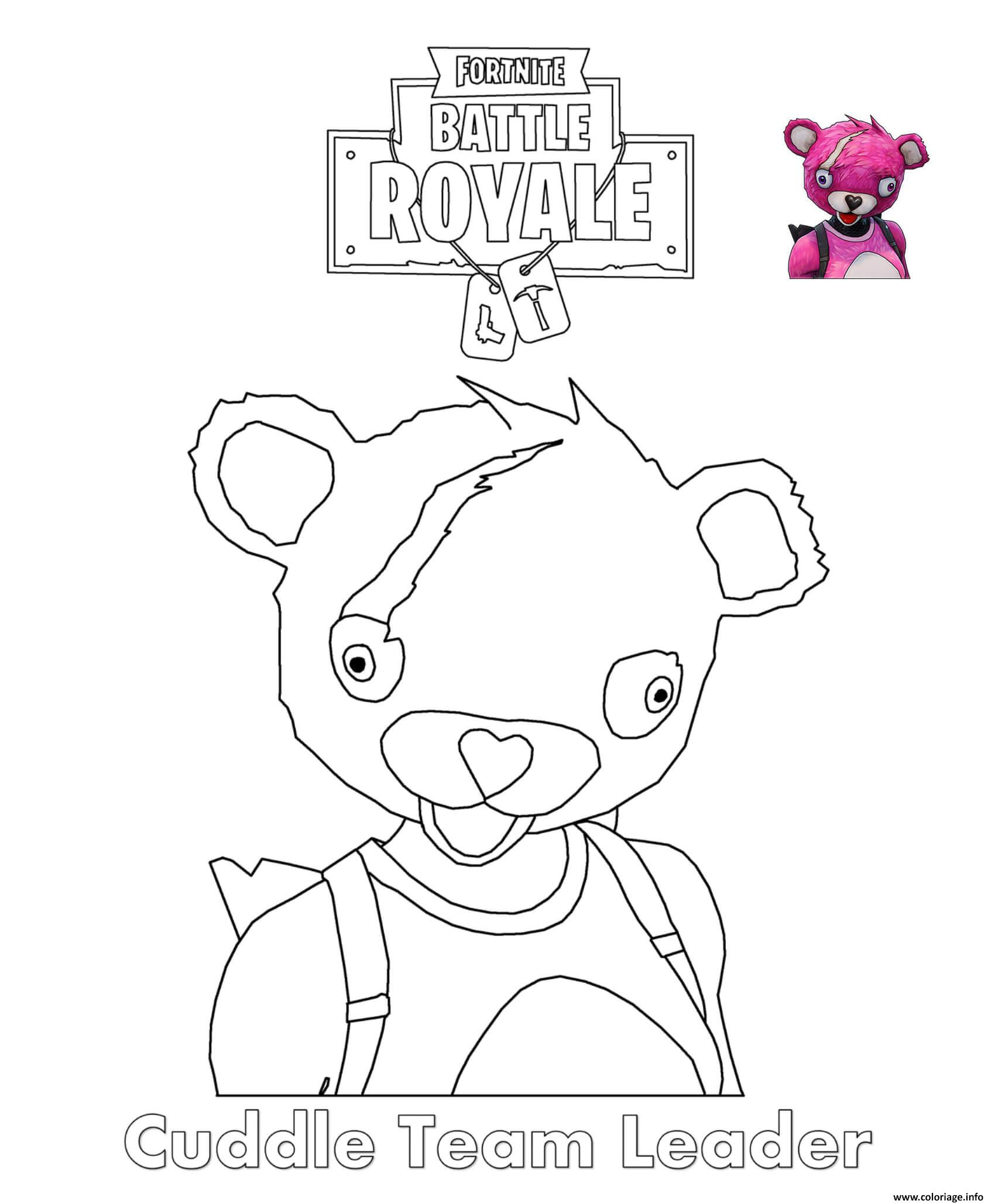 Coloriage Emoji Fortnite.Coloriage Cuddle Team Leader Fortnite Dessin