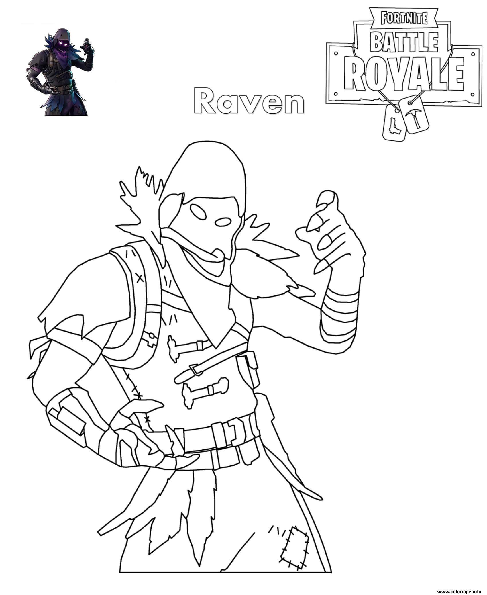 Coloriage Fortnite Raven Dessin