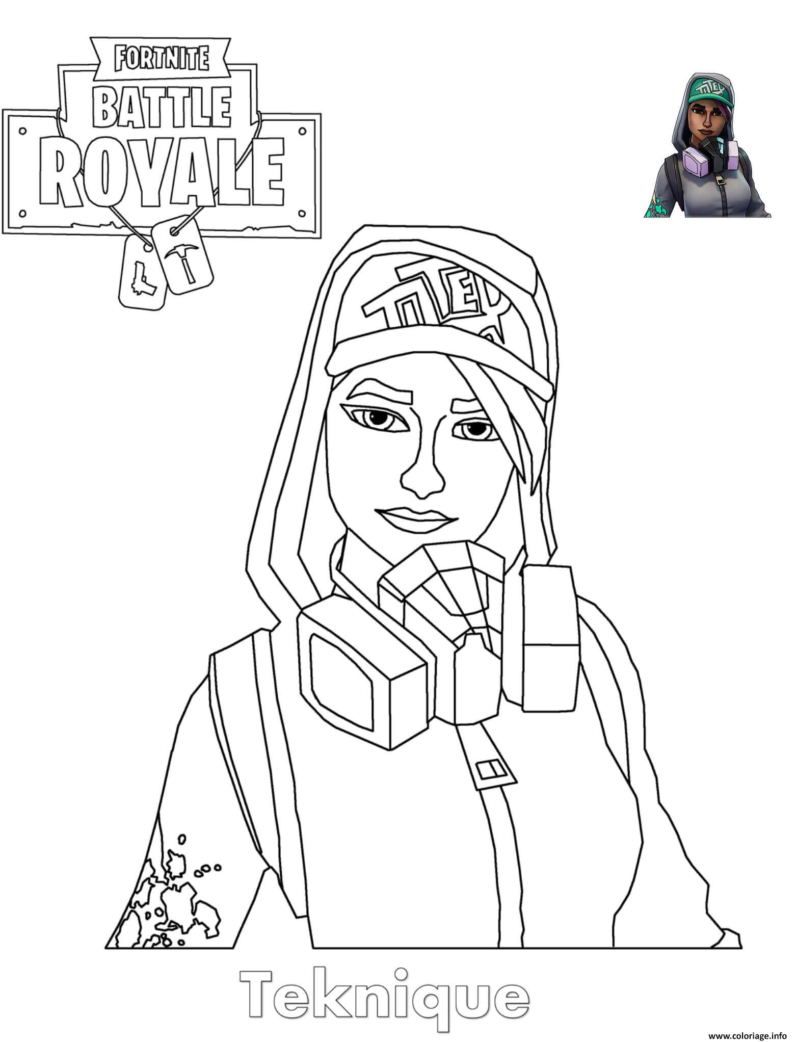 Coloriage Teknique Fortnite Girl Dessin