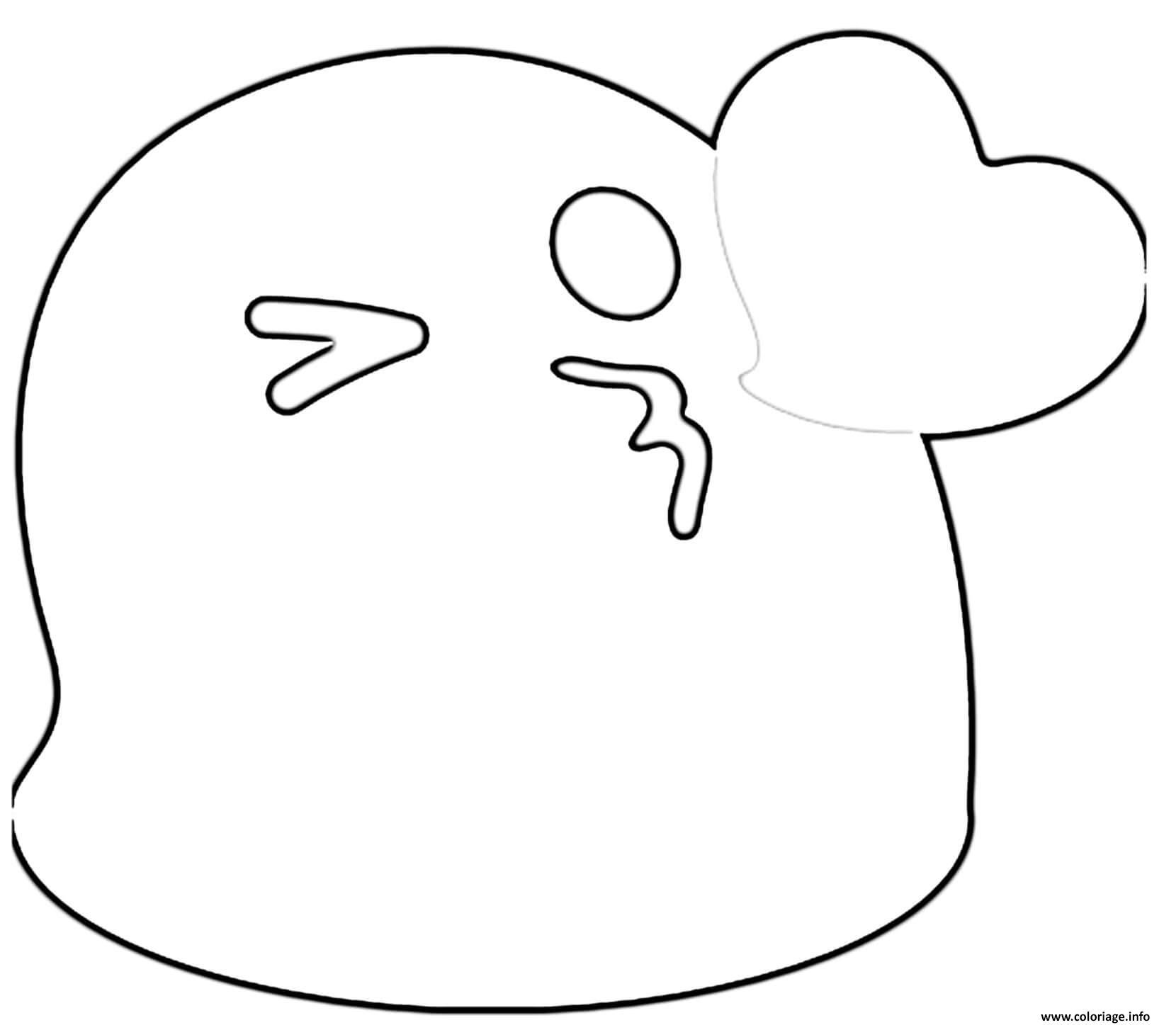 Dessin Google Emoji Kiss Coloriage Gratuit à Imprimer